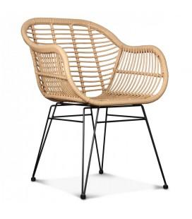 Chaise fauteuil style rotin et fer forgé noir Caty -