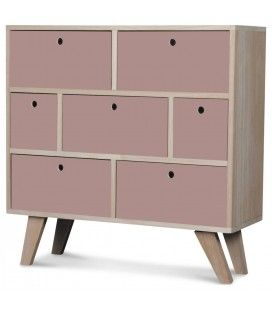 Commode style scandinave verte en bois 7 tiroirs Boreal
