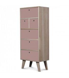 Meuble scandinave rose colonne de rangement en bois 6 tiroirs Boreal -