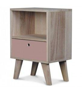Chevet style scandinave rose en bois 1 tiroir et 1 niche Boreal -