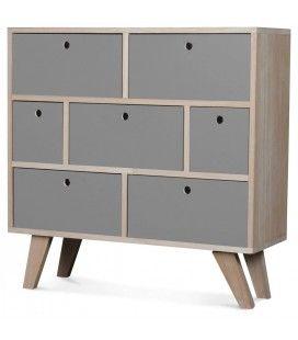 Commode style scandinave grise en bois 7 tiroirs Boreal -