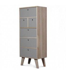 Meuble scandinave grise colonne de rangement en bois 6 tiroirs Boreal -