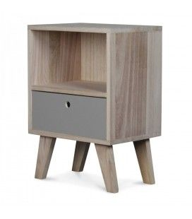 Chevet style scandinave gris en bois 1 tiroir et 1 niche Boreal