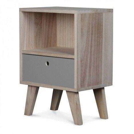 Chevet style scandinave gris en bois 1 tiroir et 1 niche Boreal -