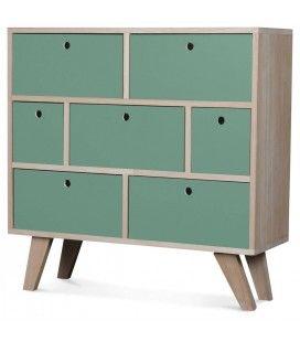 Commode style scandinave vert clair en bois 7 tiroirs Boreal -