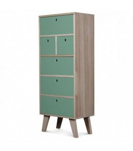 Meuble scandinave vert clair colonne de rangement en bois 6 tiroirs Boreal -