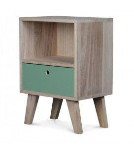 Chevet style scandinave vert clair en bois 1 tiroir et 1 niche Boreal -