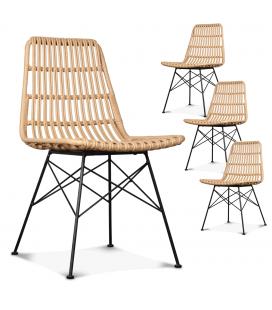 Lot de 4 chaises style rotin et métal noir Caty