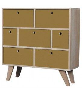 Commode style scandinave jaune en bois 7 tiroirs Boreal -