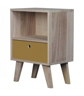 Chevet style scandinave jaune en bois 1 tiroir et 1 niche Boreal -