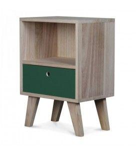 Chevet style scandinave vert en bois 1 tiroir et 1 niche Boreal -