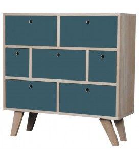 Commode style scandinave bleu en bois 7 tiroirs Boreal