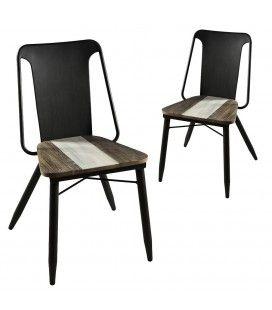 Chaise en bois massif et métal noir Mare - Lot de 2