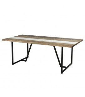 Table à manger bois massif et métal noir 200cm Mare