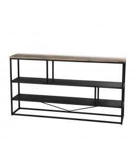 Console étagère métal et bois massif L160cm Mare