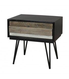 Table de chevet 1 tiroir noir et bois massif Conca