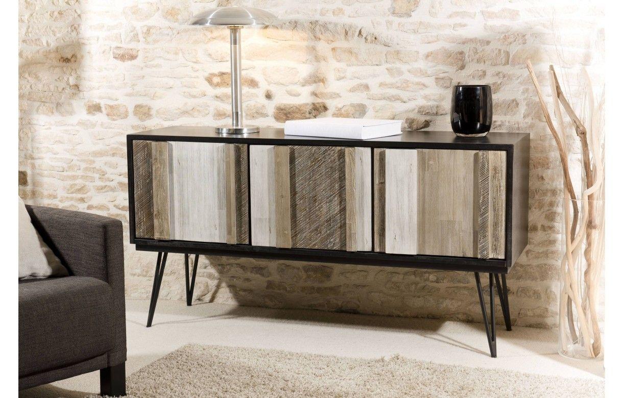 buffet enfilade 3 portes bois massif vintage industriel. Black Bedroom Furniture Sets. Home Design Ideas