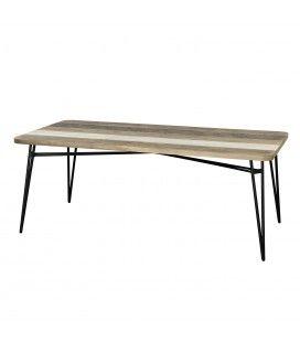 Table en bois massif d'acacia 200cm et pieds métal Conca