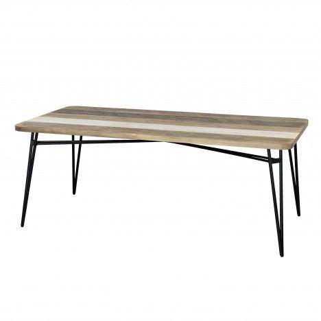 Table bois massif 200cm et pieds métal Conca