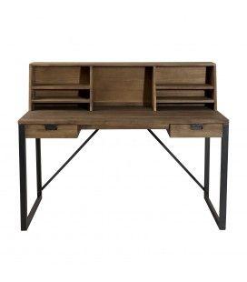Bureau 2 tiroirs bois et métal 4 bois massif SULA