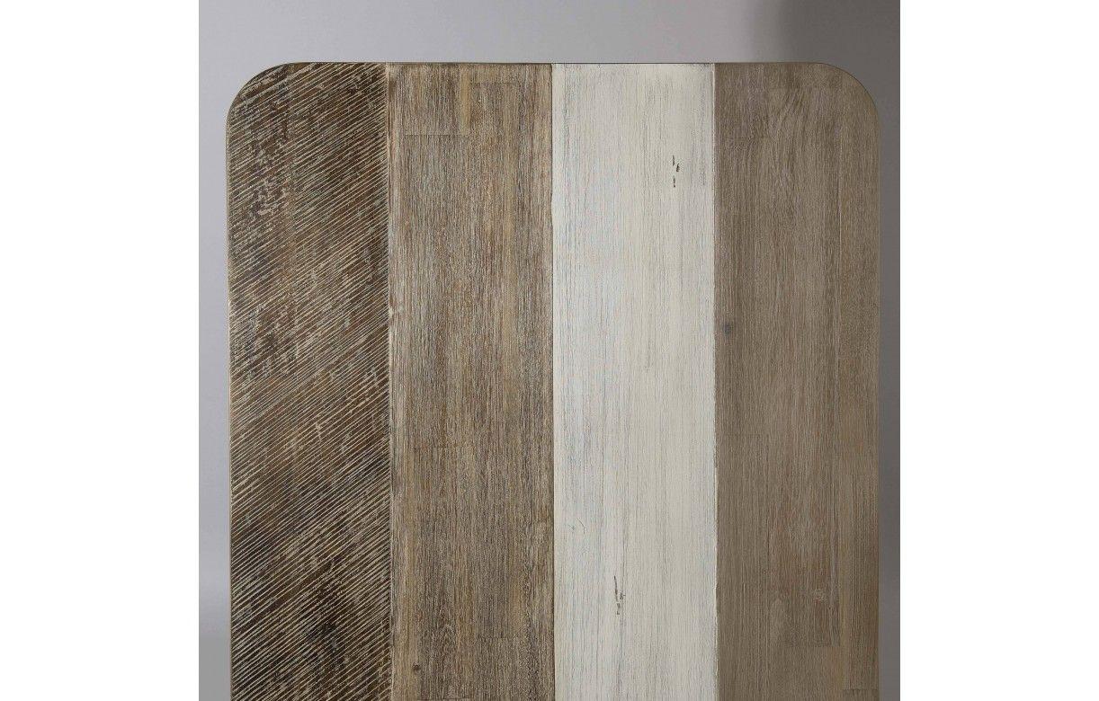 44227c2f46fd45 Table basse en bois massif et métal noir rectangulaire