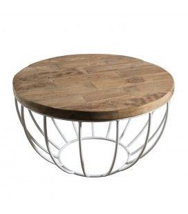 Table basse coque blanche métal et bois massif D 60 cm SULA