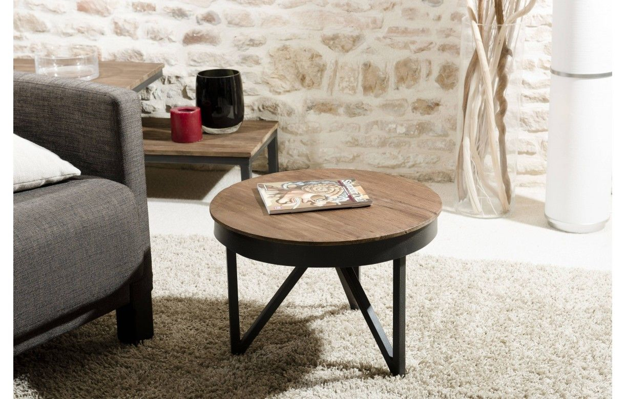 Petite Table Basse Bois Et Metal Noir 50 Cm Sula