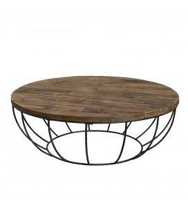Table basse coque noire métal et bois massif D 100 cm SULA