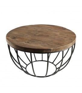 Table basse coque noire métal et bois massif D 60 cm SULA