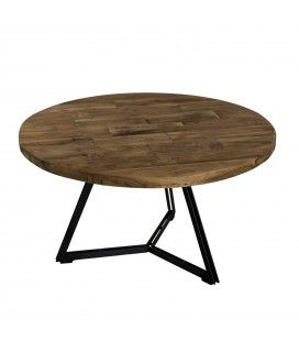 Table basse ronde pieds noirs 75 x 75 cm gamme SIXTINE -