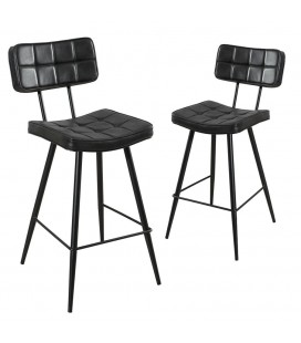 Lot de 2 chaises de bar James noir gamme TOM -