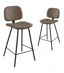 Lot de 2 chaises de bar cuir taupe Jena
