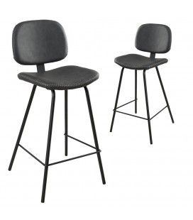 Lot de 2 chaises de bar Jimmy noir gamme TOM -