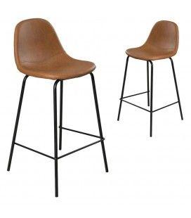 Lot de 2 chaises de bar John marron gamme TOM -
