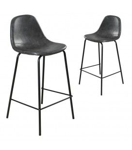 Chaise de bar noir en cuir vintage Juno - Lot de 2