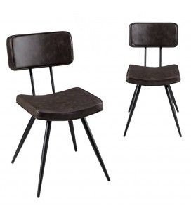 Lot de 2 chaises James marron gamme TOM -