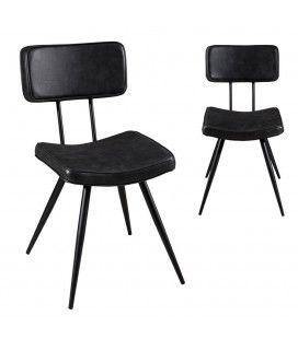 Lot de 2 chaises en simili cuir noir capitonné Tuja