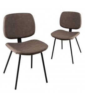 Lot de 2 chaises Jimmy marron gamme TOM -