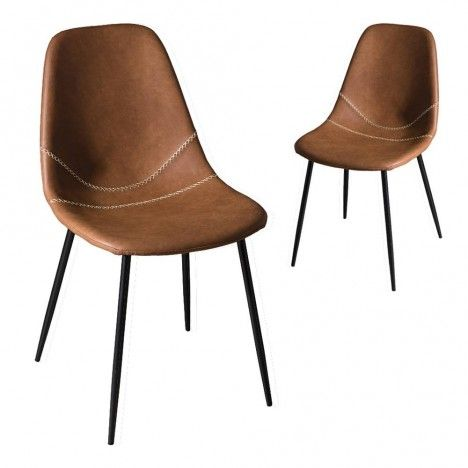 chaise marron style industriel en cuir vintage juno lot de 2 - Chaise Cuir Vintage