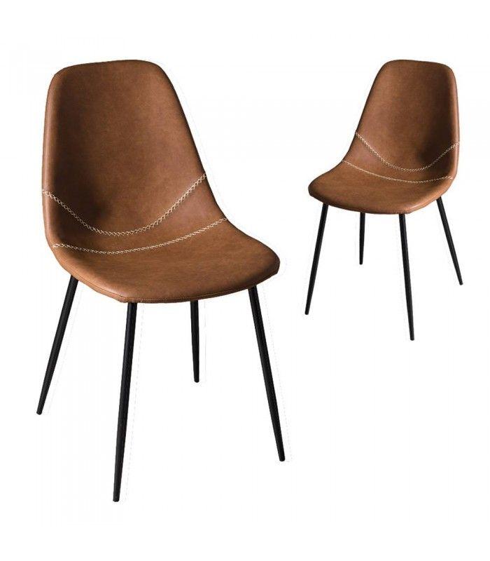 Lot De 2 Chaises Marrons Style Industriel En Cuir Vintage
