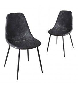 Lot de 2 chaises John noir gamme TOM -