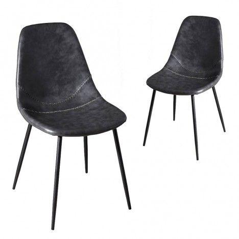 Chaise noire style industriel en cuir vintage Juno Lot de 2