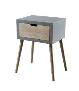 Table chevet 1 tiroir gris bleu MARSALA