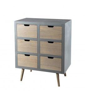 Commode 6 tiroirs bois clair et gris bleu MARSALA