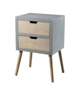 Table chevet 2 tiroir gris bleu MARSALA