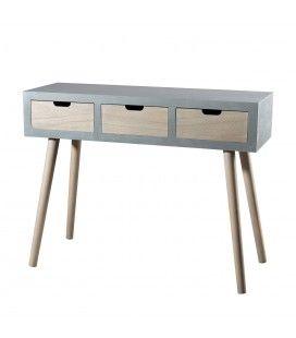 Console 3 tiroirs bois clair et gris bleu MARSALA