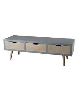 Meuble banc tv gris bleu 3 tiroirs MARSALA