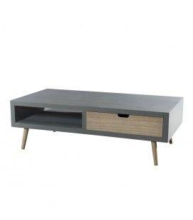 Table basse 1 niche 2 tiroirs gamme LORENZO -