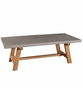 Table basse plateau béton pieds chêne massif MENTA