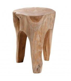 Tabouret table bois massif 40 cm JAMBI
